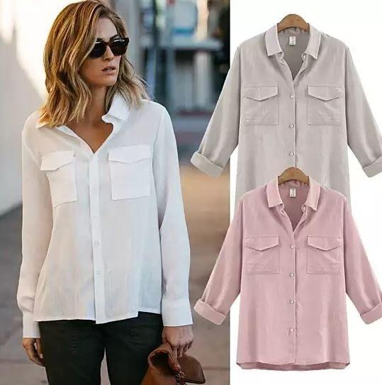 Loose Cut White Linen/Cotton Button Up Breathable Shirt - Size: XL Women's Apparel - DailySale