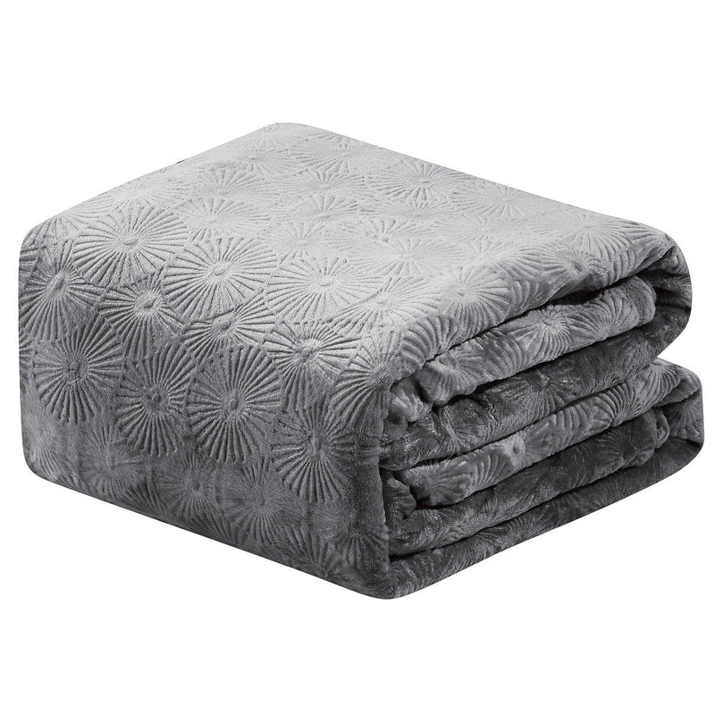 Louvre Embossed Microplush Blanket - Assorted Colors Linen & Bedding Queen Gray - DailySale