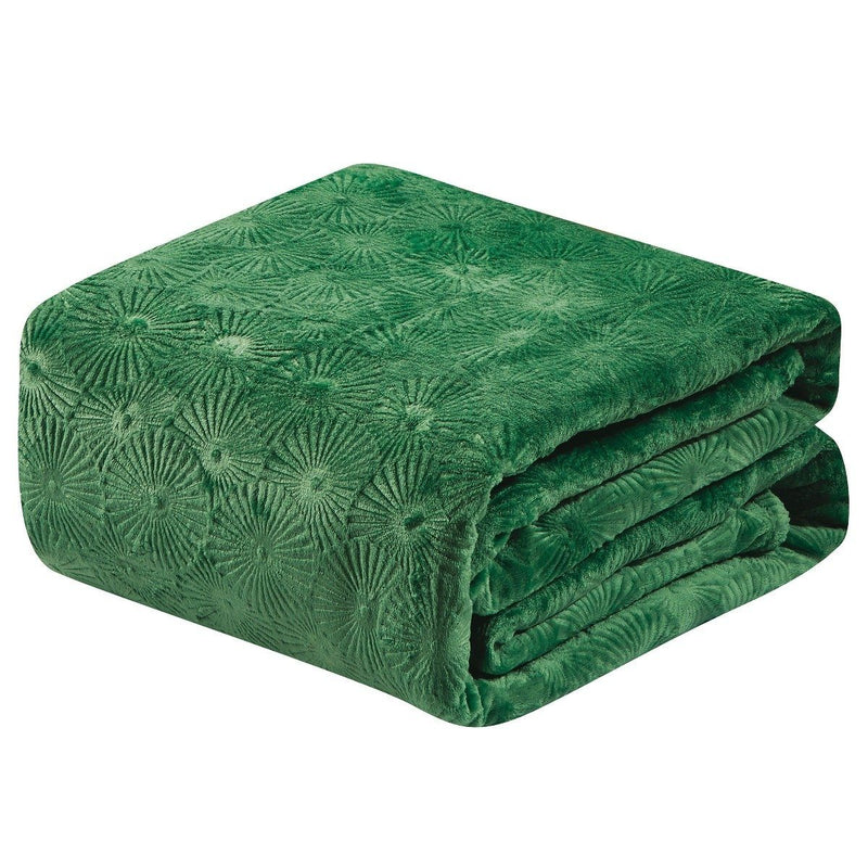 Louvre Embossed Microplush Blanket - Assorted Colors Linen & Bedding Queen Green - DailySale