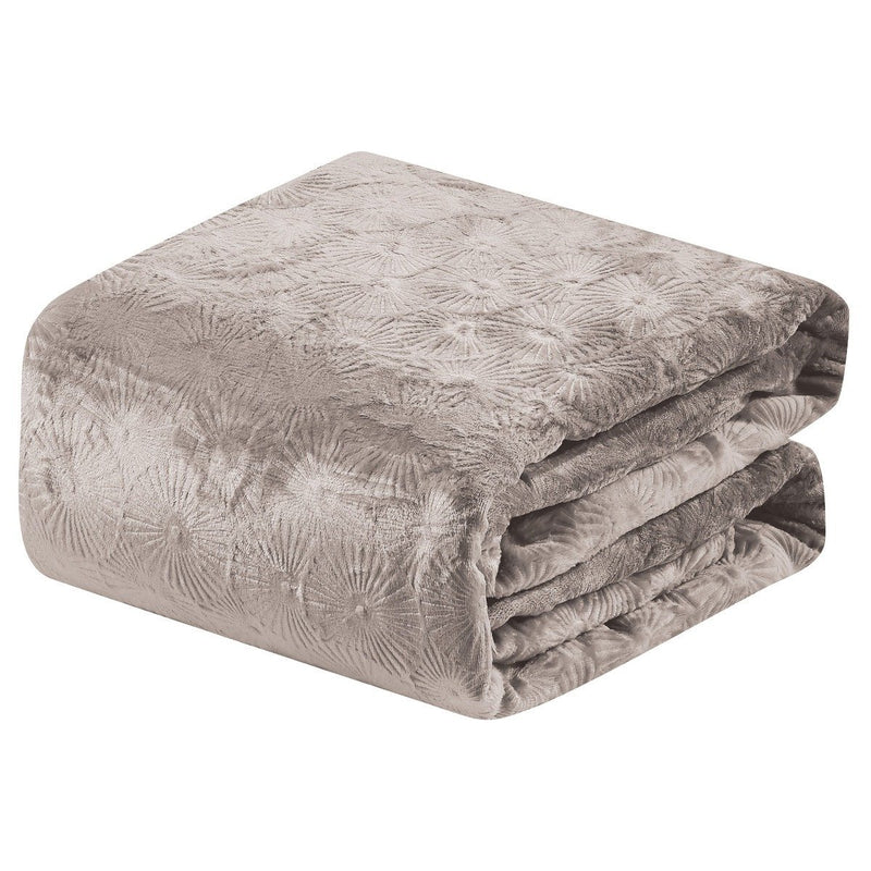 Louvre Embossed Microplush Blanket - Assorted Colors Linen & Bedding Queen Ivory - DailySale
