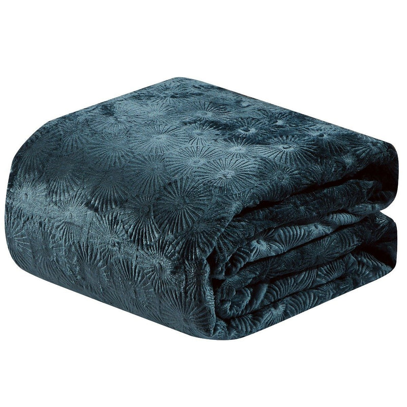 Louvre Embossed Microplush Blanket - Assorted Colors Linen & Bedding Queen Oxford Blue - DailySale