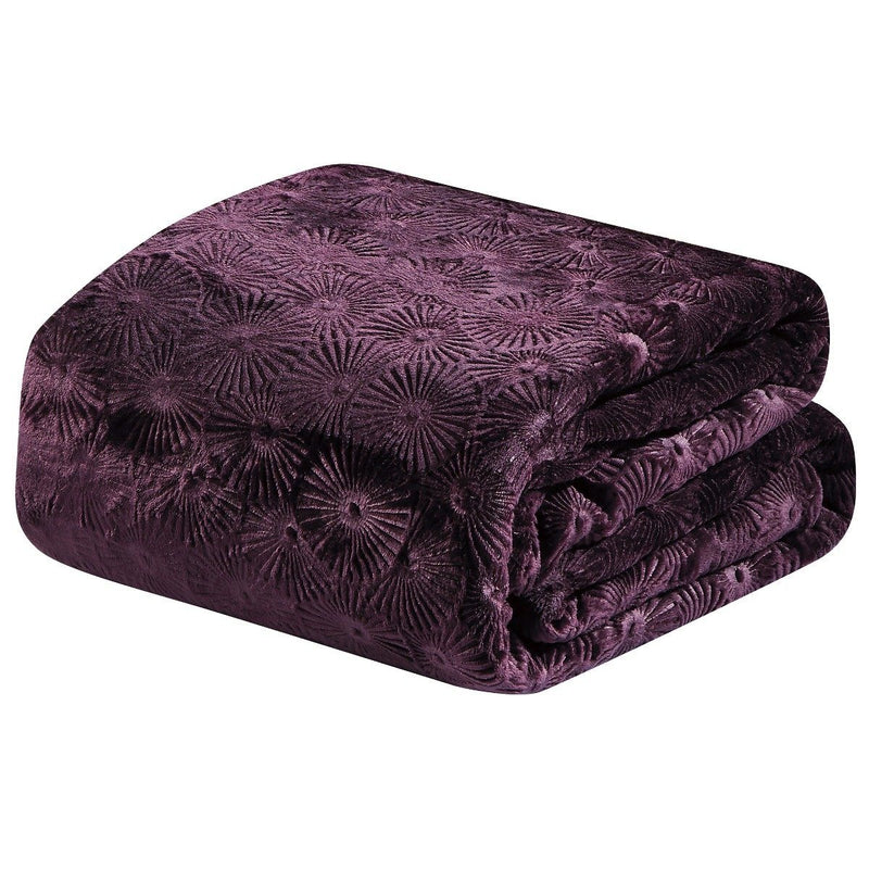 Louvre Embossed Microplush Blanket - Assorted Colors Linen & Bedding Queen Plum - DailySale