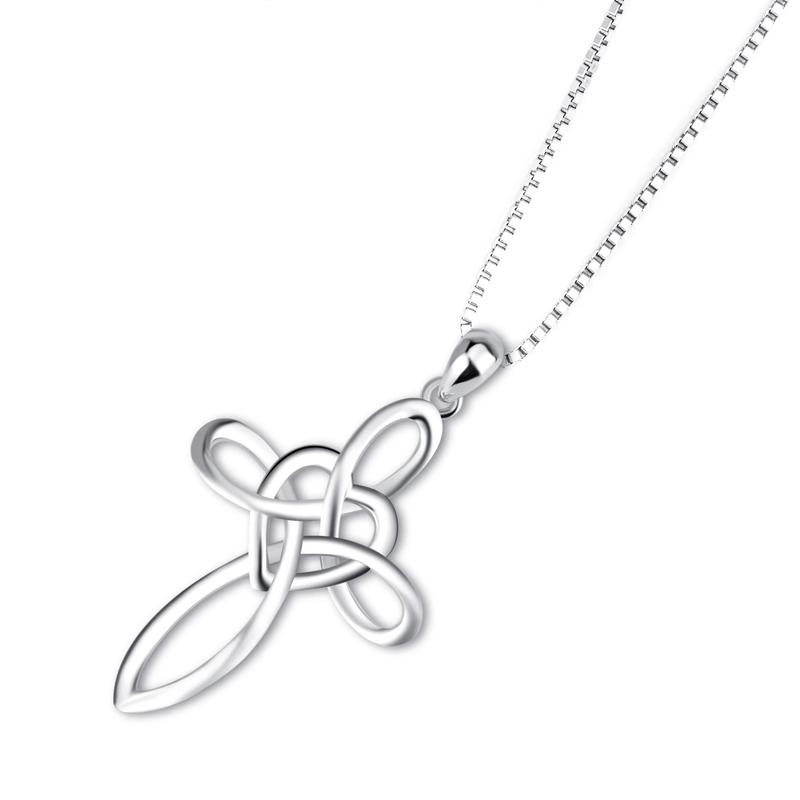 Lovely Sterling Silver Cross Pendant Necklace Jewelry - DailySale