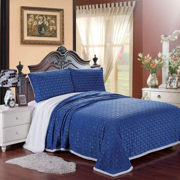 Luxurious Reversible Designer Sherpa Blanket Bed & Bath King Navy - DailySale