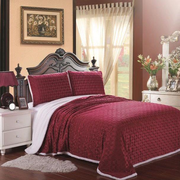 Luxurious Reversible Designer Sherpa Blanket Bed & Bath Queen Burgundy - DailySale