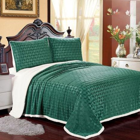 Luxurious Reversible Designer Sherpa Blanket Bed & Bath Queen Green - DailySale