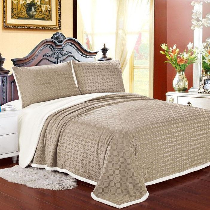 Luxurious Reversible Designer Sherpa Blanket Bed & Bath Queen Tan - DailySale