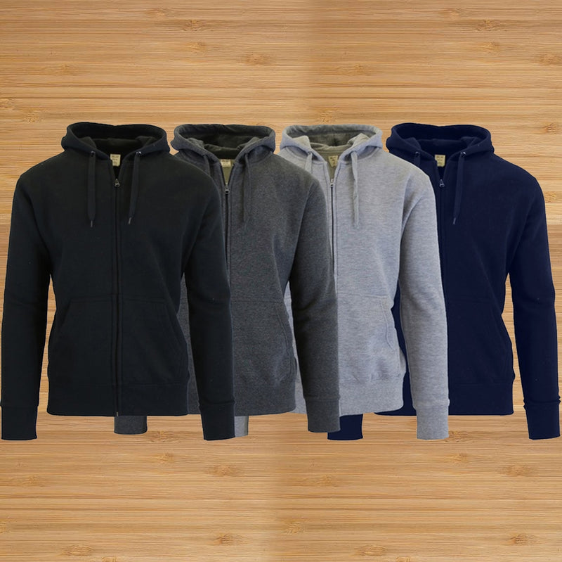 3-Pack Men's Slim-Fit Fleece-Lined Zip Hoodie - DailySale, Inc