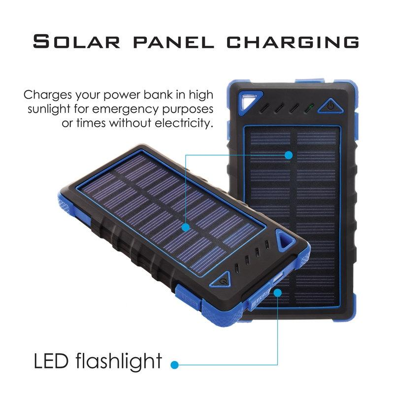 Maze Exclusive 8,000mAh High-Speed 2-Port Solar Power Bank Phones & Accessories - DailySale