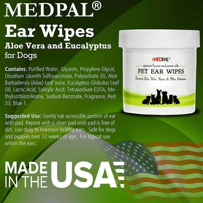 MedPal Cleaning Wipes for Dogs and Cats Prevent Ear Infections Pet Supplies - DailySale