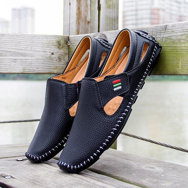 Men Casual Shoes Slip on Hollow Leather Men Shoes Men's Clothing Black 5 - DailySale
