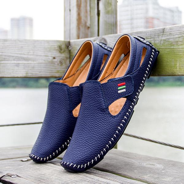Men Casual Shoes Slip on Hollow Leather Men Shoes Men's Clothing Blue 5 - DailySale