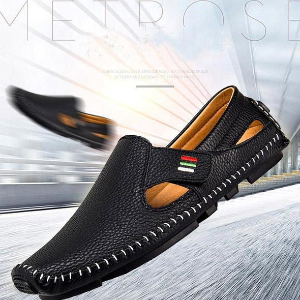 Men Casual Shoes Slip on Hollow Leather Men Shoes Men's Clothing - DailySale