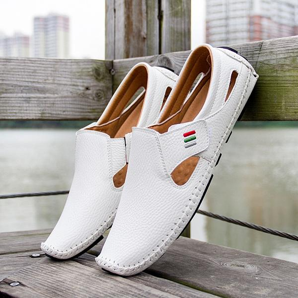 Men Casual Shoes Slip on Hollow Leather Men Shoes Men's Clothing White 5 - DailySale