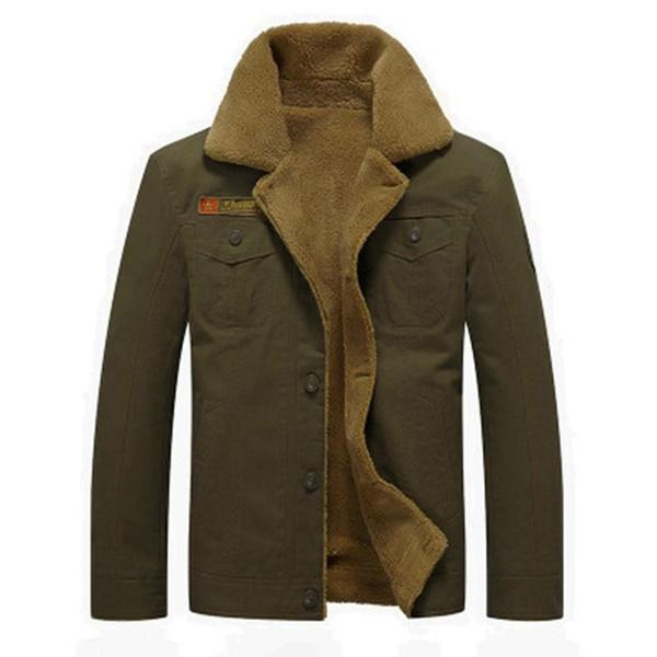 Men Fur Collar Army Tactical Jacket Men's Clothing Army Green M - DailySale