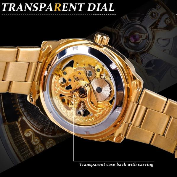 Men Luxury Skeleton Automatic Winding Mechanical Watch