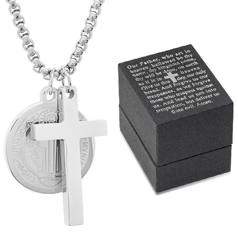 Men Stainless Steel Saint Benedict and Cross Charm with Prayer Gift Box Jewelry - DailySale
