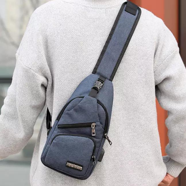 Men Women Crossbody Shoulder Bag with USB Port