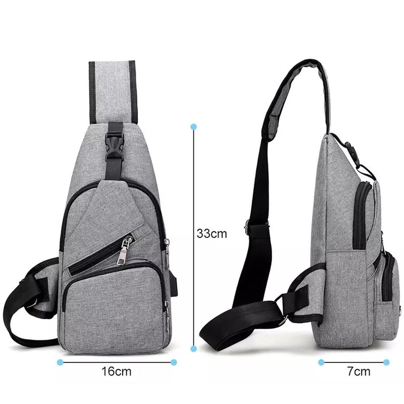Men Women Crossbody Shoulder Bag with USB Port Bags & Travel - DailySale