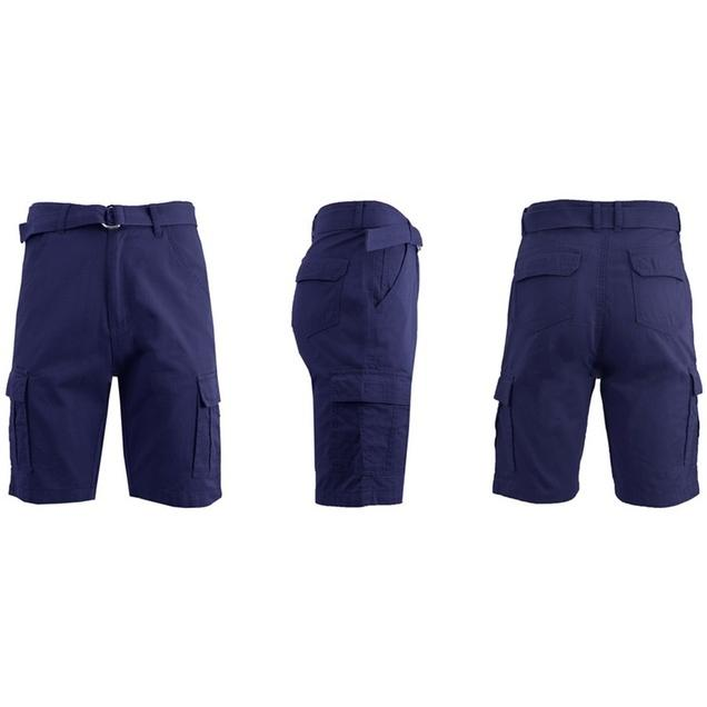 Men's 100% Cotton Belted Cargo Shorts - Assorted Colors and Sizes Men's Apparel 30 Navy - DailySale