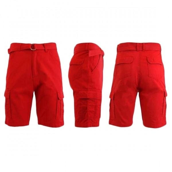 Men's 100% Cotton Belted Cargo Shorts - Assorted Colors and Sizes Men's Apparel 30 Red - DailySale