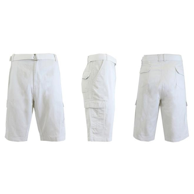 Men's 100% Cotton Belted Cargo Shorts - Assorted Colors and Sizes Men's Apparel 30 White - DailySale