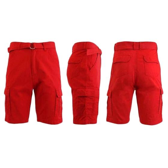 Men's 100% Cotton Belted Cargo Shorts - Assorted Colors and Sizes Men's Apparel 32 Red - DailySale