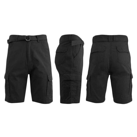 Men's 100% Cotton Belted Cargo Shorts - Assorted Colors and Sizes Men's Apparel 34 Black - DailySale