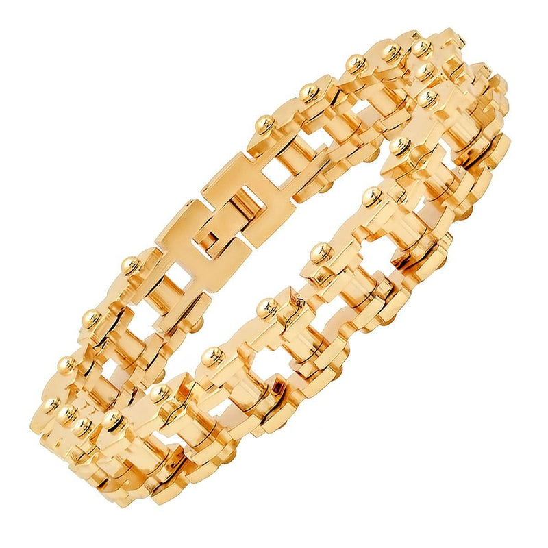 Men's 18K Gold Plated Alloy Strap and Stainless Steel Watch and 18K Gold Plated Stainless Steel Bracelet Men's Accessories - DailySale