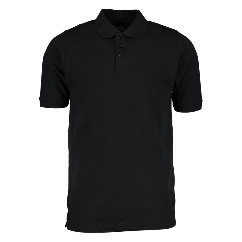 Men's 3-Button Ribbed Short Sleeve Polo Men's Apparel Black Small - DailySale