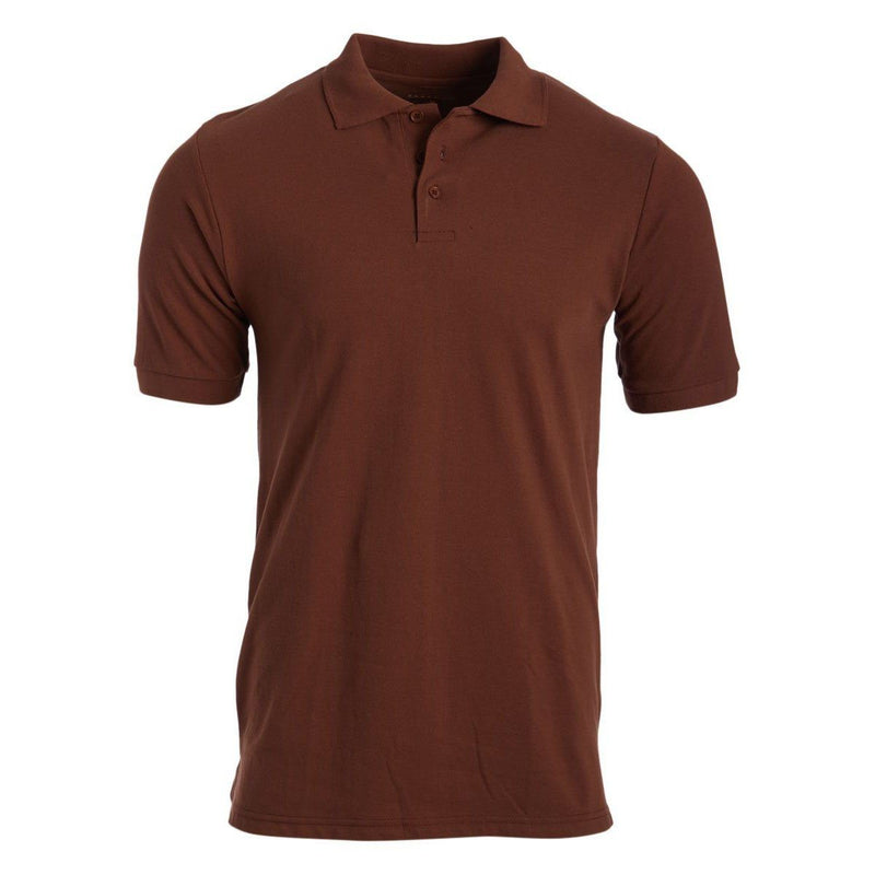 Men's 3-Button Ribbed Short Sleeve Polo Men's Apparel Brown Small - DailySale