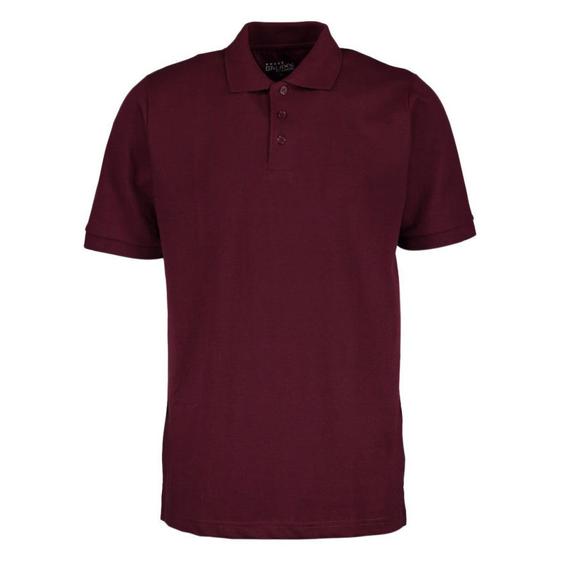Men's 3-Button Ribbed Short Sleeve Polo Men's Apparel Burgundy Small - DailySale