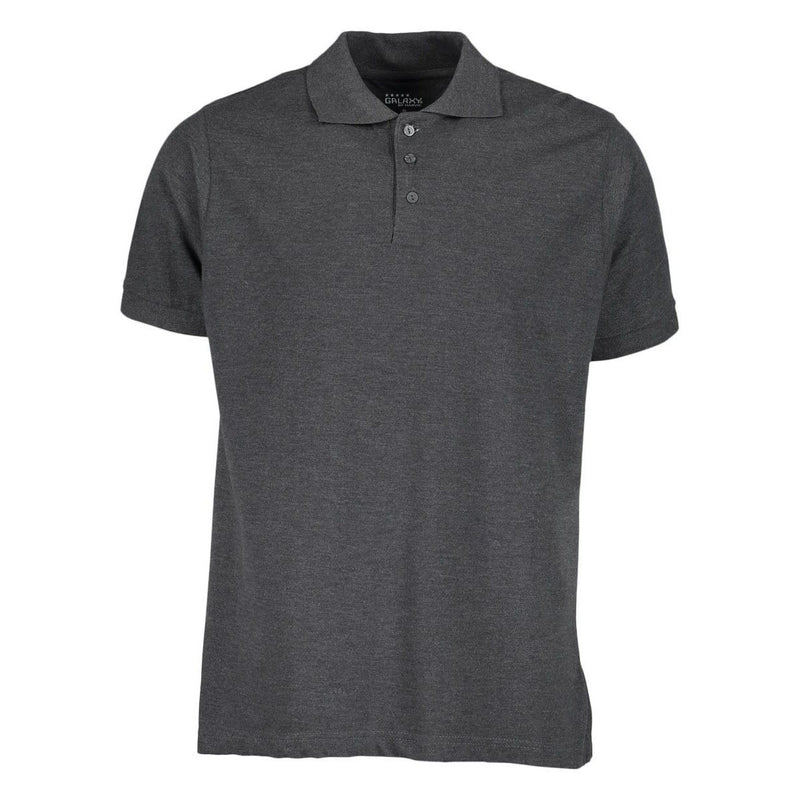 Men's 3-Button Ribbed Short Sleeve Polo Men's Apparel Charcoal Small - DailySale
