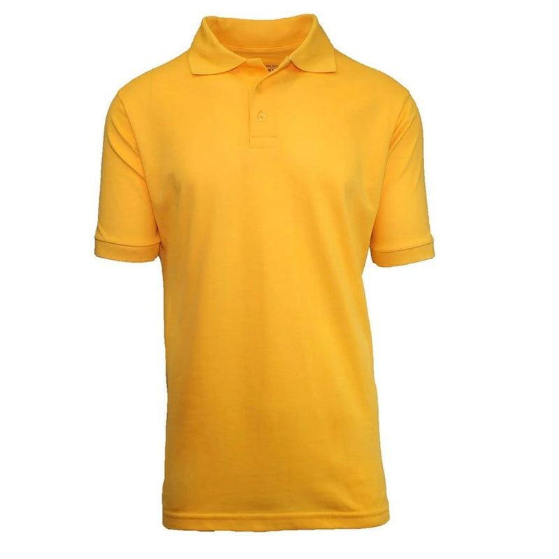 Men's 3-Button Ribbed Short Sleeve Polo Men's Apparel Gold Small - DailySale