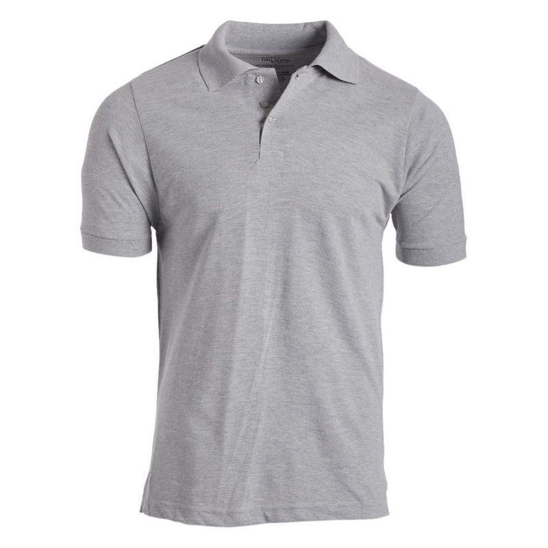 Men's 3-Button Ribbed Short Sleeve Polo Men's Apparel Heather Gray Small - DailySale
