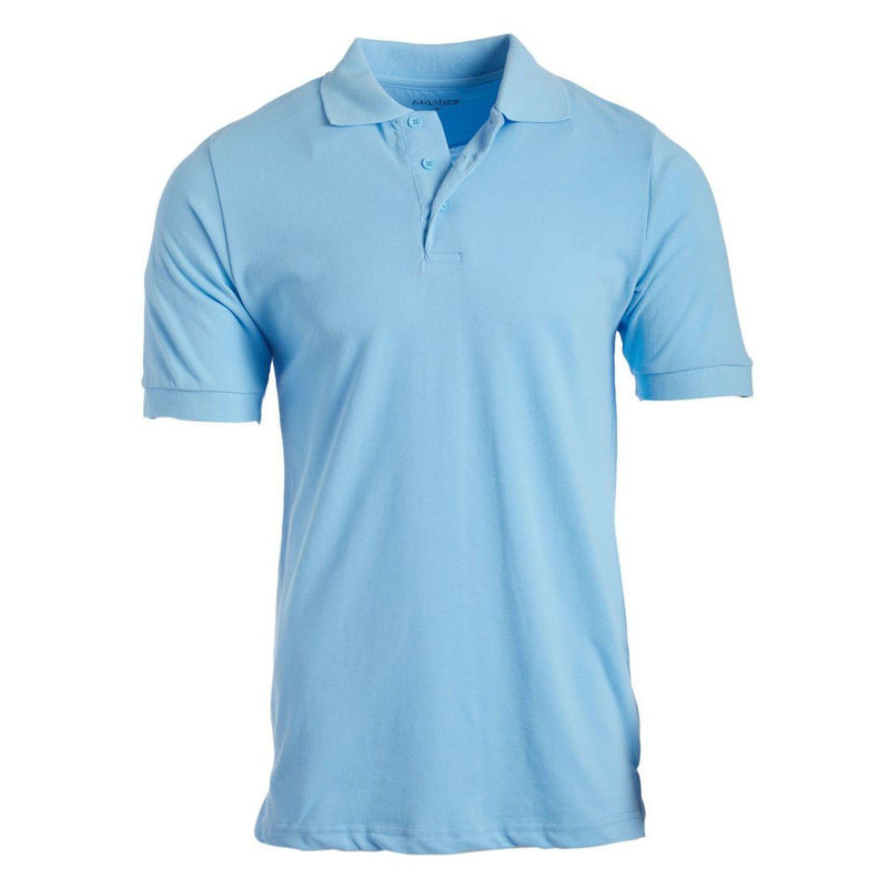 Men's 3-Button Ribbed Short Sleeve Polo Men's Apparel Light Blue Small - DailySale