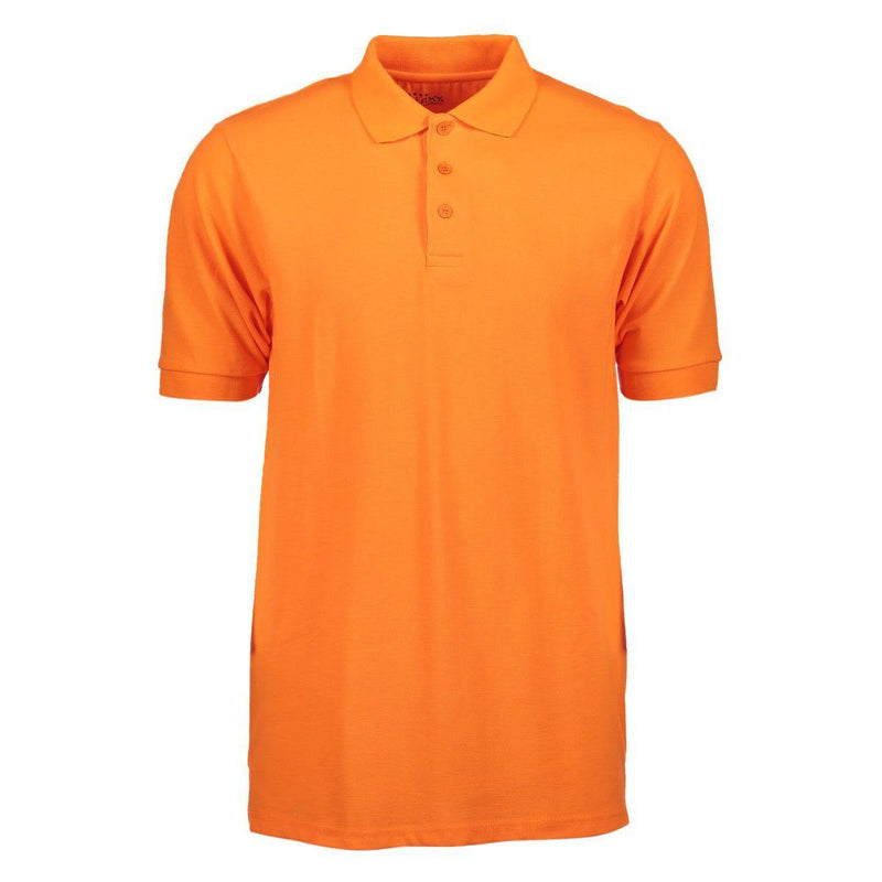 Men's 3-Button Ribbed Short Sleeve Polo Men's Apparel Orange Small - DailySale