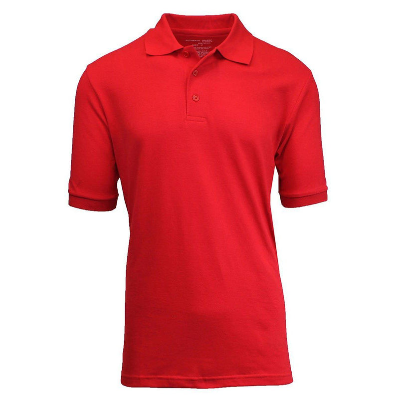 Men's 3-Button Ribbed Short Sleeve Polo Men's Apparel Red Small - DailySale