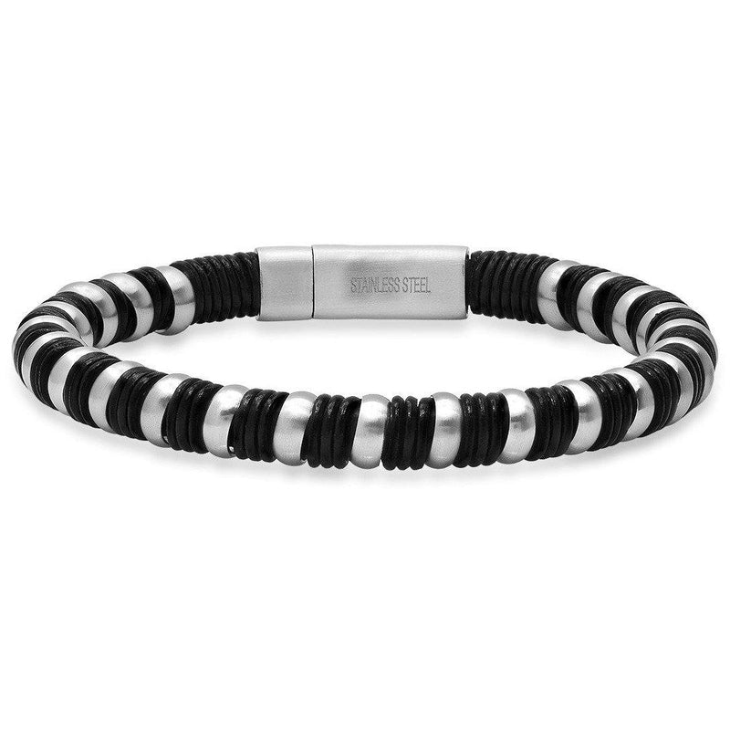 Men's Black Leather and Stainless Steel Braided Bracelet Bracelets - DailySale