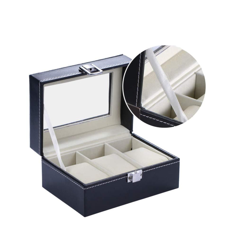 Mens Black Leather Display Glass Top Jewelry Case Organizer Home Essentials - DailySale