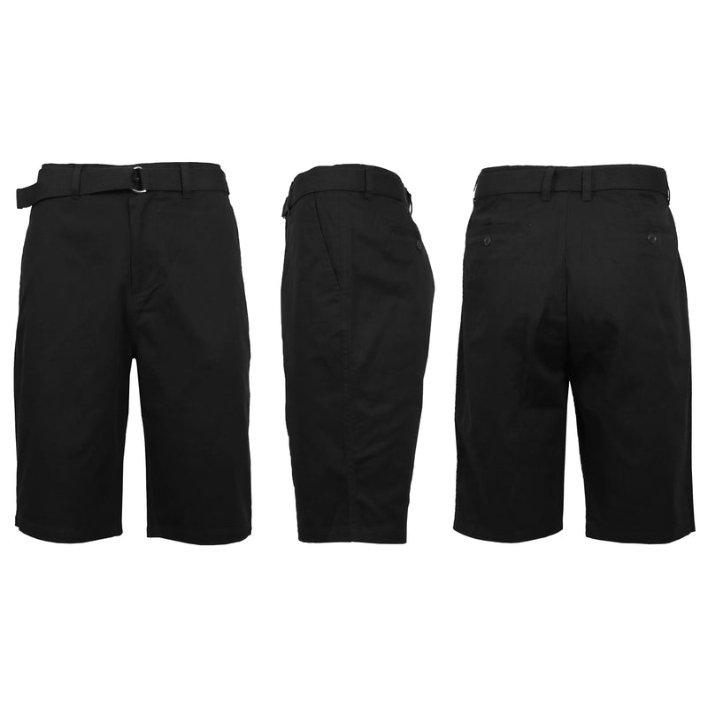 Men's Cotton Chino Shorts with Belt Men's Apparel 30 Black - DailySale