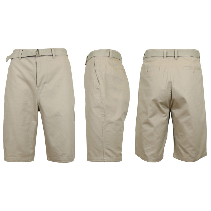 Men's Cotton Chino Shorts with Belt Men's Apparel 30 Khaki - DailySale
