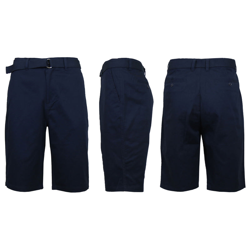 Men's Cotton Chino Shorts with Belt Men's Apparel 30 Navy - DailySale