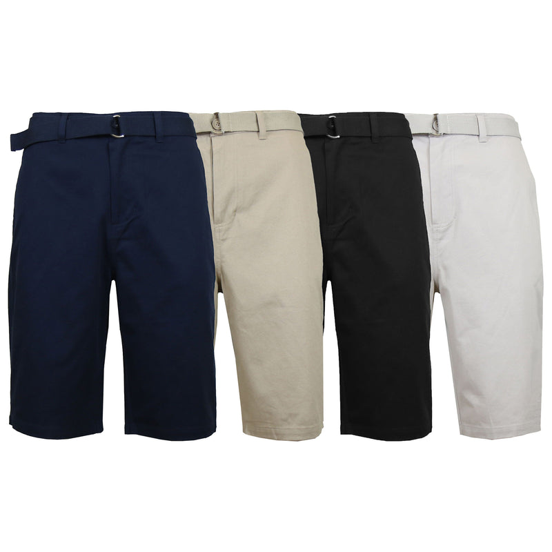 Men's Cotton Chino Shorts with Belt Men's Apparel - DailySale