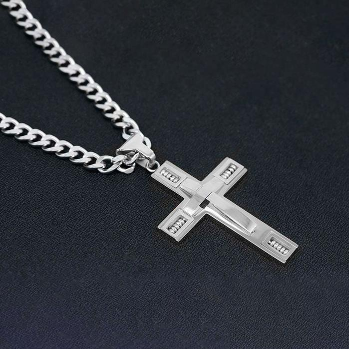 Men's Cross Necklaces in Stainless Steel Men's Apparel Silver - DailySale