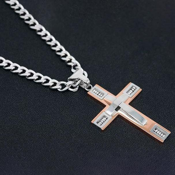Men's Cross Necklaces in Stainless Steel Men's Apparel Silver/Rose Gold - DailySale