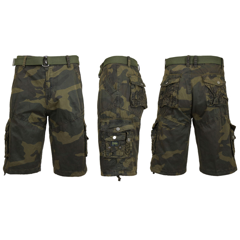 Men's Distressed Vintage Belted Cargo Utility Shorts Men's Clothing Camo 30 - DailySale