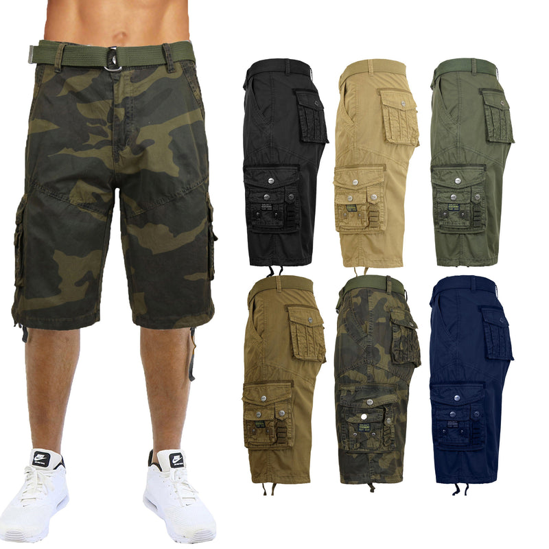 Men's Distressed Vintage Belted Cargo Utility Shorts Men's Clothing - DailySale