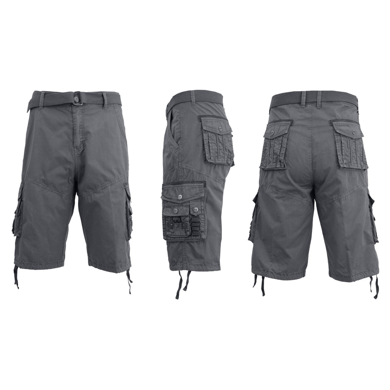 Men's Distressed Vintage Belted Cargo Utility Shorts Men's Clothing Gray 30 - DailySale