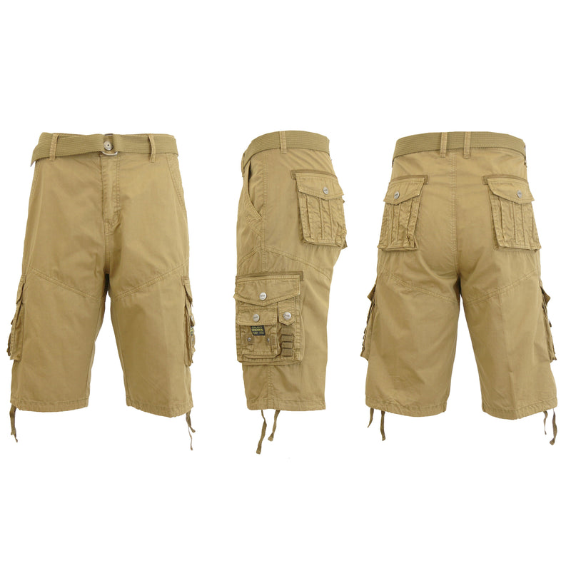 Men's Distressed Vintage Belted Cargo Utility Shorts Men's Clothing Khaki 30 - DailySale